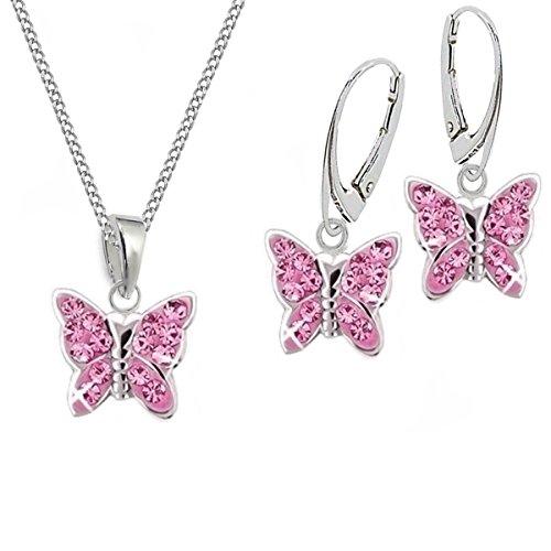 GH* KIDS Rosa Kristall Schmetterling BRISUR OHRRINGE + ANHÄNGER + KETTE 925 Echt Silber Mädchen Baby Kinder SET (38)