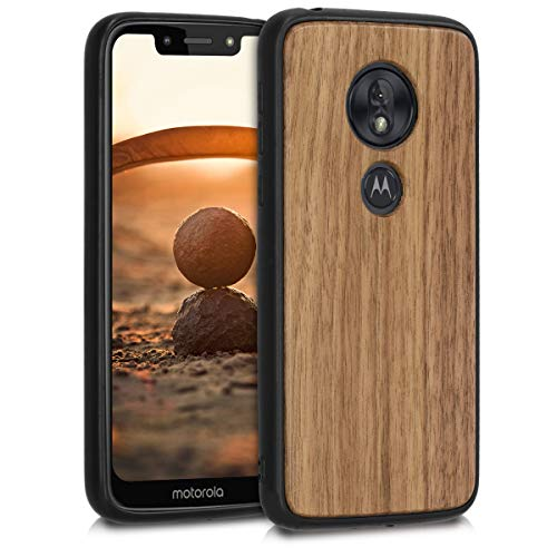 kwmobile Bumper Handyhülle kompatibel mit Motorola Moto G7 Play (EU-Version) - Holz Hülle Handy Case Cover Dunkelbraun