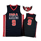 Maglia da Basket Michael Jordan USA Dream Team, Canotta Blu/Bianca Air Jordan 9# retrò Ricamata, Adatta per Fan, Uomo e Donna. (S-XXL) Blue-S