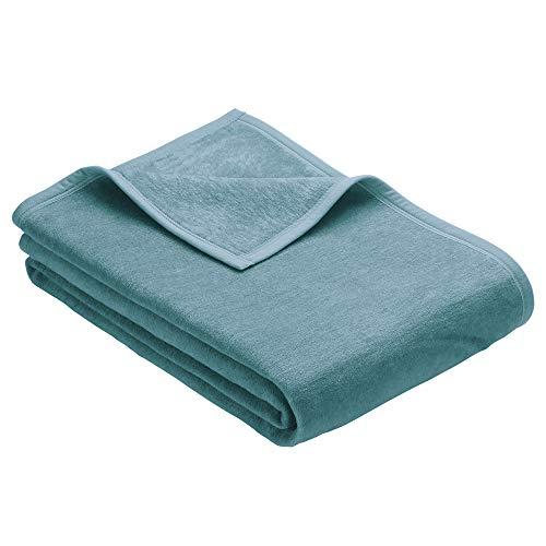 Ibena Kuscheldecke 3560 / Tagesdecke helltürkis/Wolldecke 150x200 cm/besonders flauschig weich und angenehm warm, Baumwollmischung in hervorragender Qualität in vielen Größen erhältlich