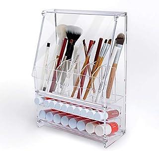 Atic Acrylic アクリル DIY 透明 コスメケース 蓋付き/メイクケース メイク ボックス 化粧品 入れ コスメ リップスティック ブラシ 収納 スタンド/Organizer storage For Pencil &Brush &Lipstick [並行輸入品]