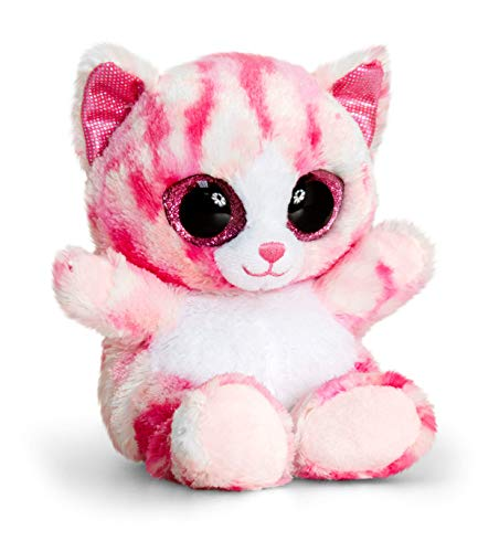 Keel Toys SF0442 Animotsu, Gattino di Peluche da15cm, Colore: Rosa