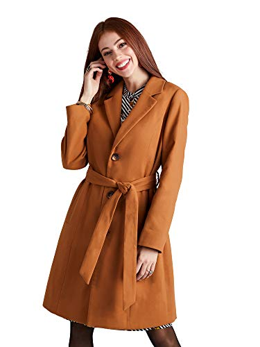 YUMI Tan Button Through Coat with Check Print