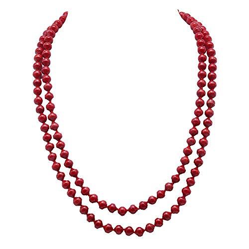 JYX korallenkette Coral Double Strand Halskette 6-6.5mm rote Korallen Halskette Lange Pullover Halskette 19