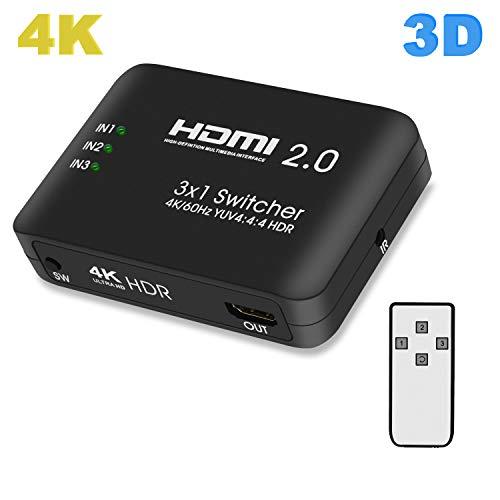 Lemorele HDMI Switch 4K@60Hz HDMI Verteiler 3D YUV 4:4:4 HDR 3 IN 1 Out HDMI Umschalter Box mit IR Fernbedienung für PS3/PS4,Nintendo Switch,Laptop, Xbox One,Blu-ray-Player,DVD Player,HDTV,Chromecast