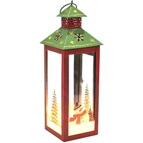 I GO Linterna de Navidad Linterna de Nieve Decoración navideña Candelabro Decoración de Mesa, Metal Pintado a Mano y Vidrio, Rojo Blanco, 10x10x28cm