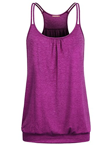 Sleeveless Shirts for Women,Girls Exercise Tank Tops Athletic Sport Yoga Raceback Cami Dressy Draped Tunic Breathable Cool Camisole Red Large L US 12