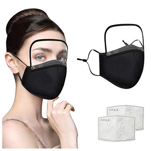 Eariy Wiederverwendbarer, waschbarer Gesichts-Mundschutz mit 2 Filter und abnehmbarem Augenschutz, einfach zu justieren, atmungsaktives Gesichtsbandana für Restaurants, Schulen