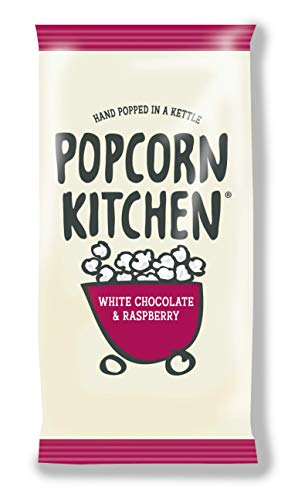 Popcorn Kitchen, Gourmet Popcorn, White Chocolate and Raspberry, Hand Popped in a Kettle, Suitable for Vegetarians. Treat Snack Packs, 12x 30g