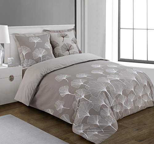 Vision Housse de Couette Ginko - 200x200cm avec 2 taies d'oreiller - 100% Coton