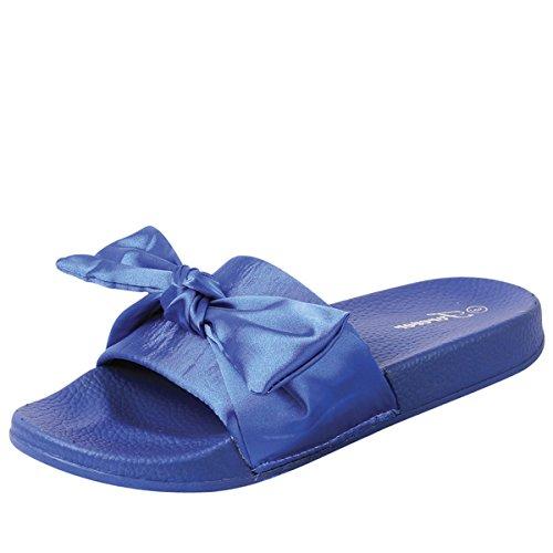 of forever women slippers Forever Link Womens Open Toe Bow Knot Mules Slipper Low Flat Platform Slide Sandals