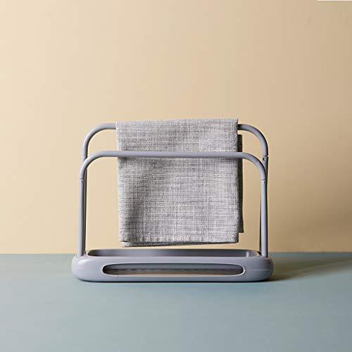 Nuevo Estante de almacenamiento de toallas desmontable de secado rápido Doble Rod Rag Stand (gris)