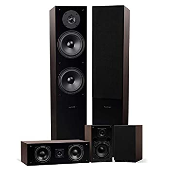 Fluance Elite High Definition Surround Sound Home Theater 5.0 Channel Speaker System Including Floorstanding Towers Center Channel and Rear Surround Speakers - Natural Walnut  SXHTBW