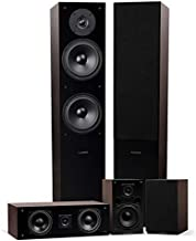 Fluance Elite High Definition Surround Sound Home Theater 5.0 Channel Speaker System Including Floorstanding Towers, Center Channel and Rear Surround Speakers - Natural Walnut (SXHTBW)