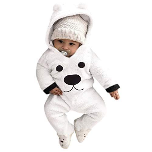 Pagliaccetti Bambini Bambina Invernali, Pigiami Maglia Orso Moda Bambino Bambina Pagliaccetto Pigiama Elegante Body Caldo Vestito Bimbo Neonati Tute Inverno Costume Cerimonia/Bianco,12-18 Mesi