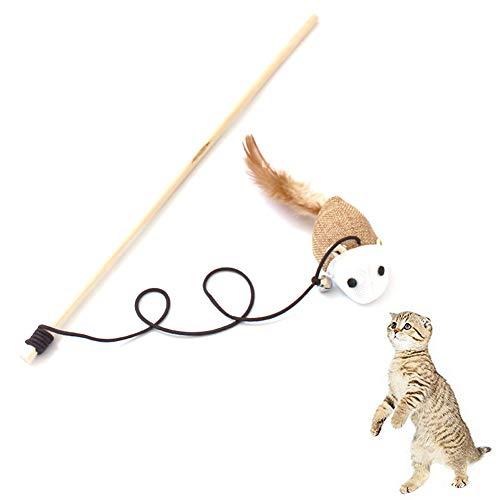Gcroet 1 pieza de juguete para gatos con barra elástica de madera y campanas, divertido gato de ratón, juguete de madera para gatos con plumas, accesorios para mascotas (ratón)