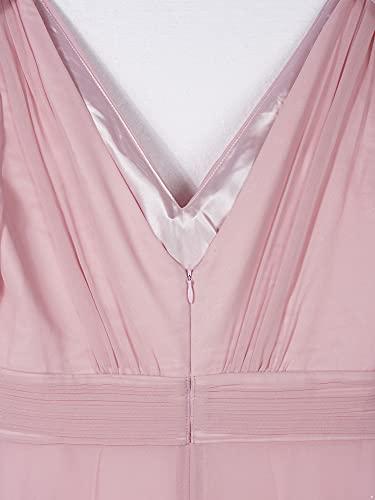 IEFIEL Vestido Largo de Fiesta para Mujer Vestido Elegante Encaje de Dama de Honor Vestido Cóctel Sin Manga de Boda Ceremonia Gala B Rosa 46