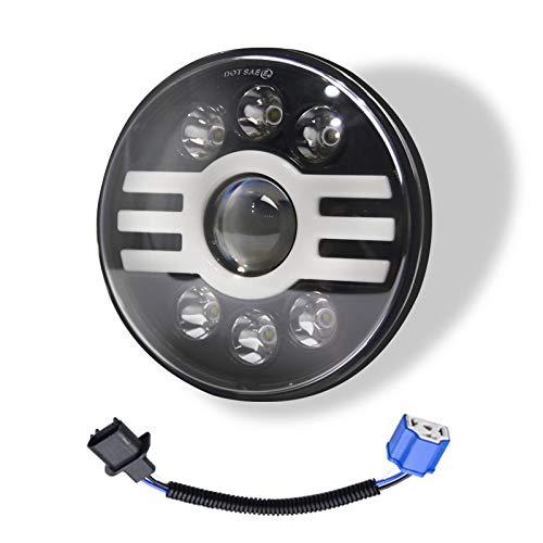 Xyamzhnnn IP67 Lámpara 6led Beads Coche Forma Redonda Lámparas de Faros LED para Jeep Wrangler, con Ojo de ángel, 7 Pulgadas H4 DC 9V-30V 6000LM 6000K / 3000K 55W