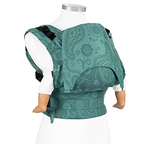 Fidella Fusion Babytrage Full Buckle I Bauchtrage & Rückentrage I Ergonomische Komforttrage mit Steckschnallsystem I 100% Bio Baumwolle I Mitwachsend für Neugeborene bis 15 kg I Grün