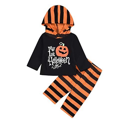 Halloween Kostuum Set Baby Peuters Lange Mouw Mijn Eerste Halloween Pompoen Print Hooded Tops+Streep Broek 2 STKS Pasgeboren Outfits Kleding Set