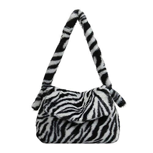 Umhängetasche mit Leopardenmuster Animal Zebra Stripe Pattern Kunstpelz Handtasche Geldbörse Plüsch Fluffy Wool Fuzzy Soft Tote Taschen für Frauen Mädchen