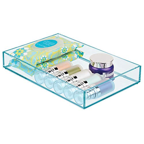 mDesign Brede Make-up Organizer voor Badkamer Laden, Vanity, Aanrechtblad - Opslagruimte Bins voor Make-up Borstels, Oogschaduw Paletten, Lipstick, Lip Gloss, Blush, Concealers Blauw