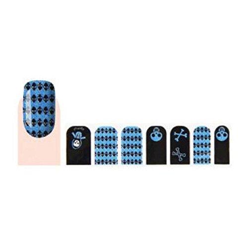 GLAM UP - Stickers Vernis Adhésifs ongles - Tête de Mort Turquoise Noir