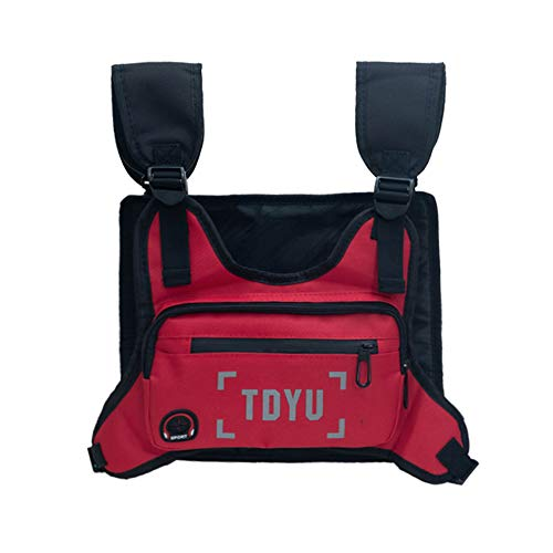 Klykon Chest Bag for Men Fashion Chest Rig Bag Pack Harness Reflective Utility Light Bags for Men Women Night Running Exercise Hiking (Red)