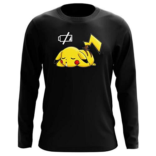 Okiwoki T-Shirt Manches Longues Noir Parodie Pokémon - Pikachu - Batterie à Plat ! (T-Shirt de qualité Premium de Taille XL - imprimé en France)