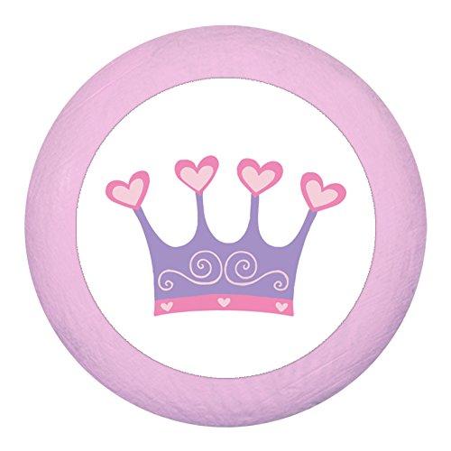 Pomo para armario 'Corona lila', color rosa claro, rosa pálido, de madera, para habitación infantil, 1 unidad, para niña