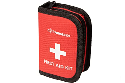 Primacare KB-7411 45 Piece Personal First Aid Kit, 6'x4'x1', with Emergency Medical Supplies, Pocket Size Essential Travel Bag, Med Kits, Red