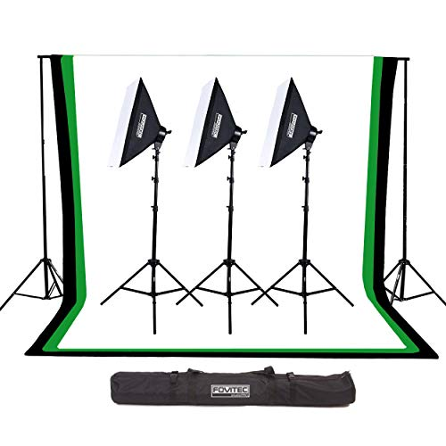 """Fovitec 10'x20' Complete Studio Lighting Kit with 3 20""""x28"""" Softbox Fluorescent Lights, Background Stand, White, Black, and Chroma Key Green Backdrops, and Carrying Case for Video and Photography"""