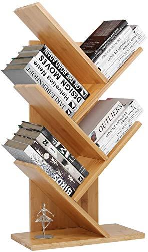 Bücherregal 4 Ebenen Raumteiler Standregal Holzregal, Standregal zur Präsentation Baumform, Raumteiler Standregal Büroregal, Standregal, CD Regal aus Holz für Wohnzimmer, 64.5x37x16cm, Bambus