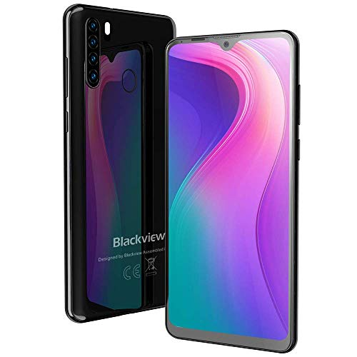 "Blackview A80 Pro Moviles Libres con Pantalla 6.49"" HD+ Waterdrop Screen,13MP+8MP+0.3MP+0.3MP,4GB+64GB(SD 256GB),Batería 4680mAh,4G Android 9.0 Telefono Movil,Face ID/GPS-Negro"