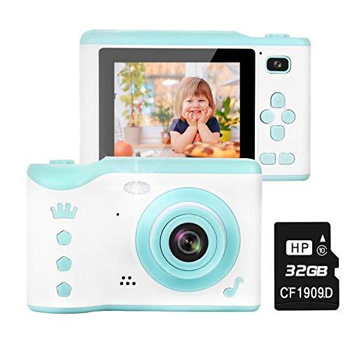 TOYSBBS Kinderkamera, 8MP Digitalkamera mit 2.8 Zoll Touchscreen / 32GB TF-Karte/Foto & Video/Rahmen/Filter, Mini Kamera für 3-12 jährige Kinder, Mädchen, Kinder Spielzeug/Geschenk,Blau