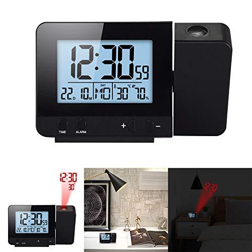 HITECHLIFE Sveglia con Proiettore Display a LED Proiettore Orologio con retroilluminazione Snooze Sveglia Ora Temperatura umidità Data Decorazione Camera Nero