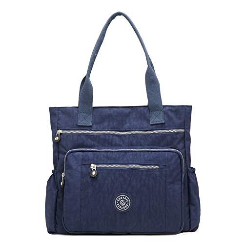 Women's Casual Multi-Pocket Handbags Waterproof Nylon Top-Handle Bag Shoulder Bag Travel Purse Large Capacity (Dark blue)