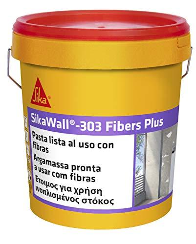 SikaWall-303 Fibers Plus, Plaste listo para su uso, con fibra de vidrio para pequeñas reparaciones y puenteo de fisuras sobre superficies porosas, Blanco, 5 kg