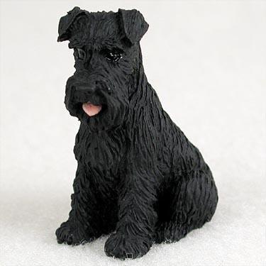 Schnauzer Miniature Dog Figurine - Uncropped - Black