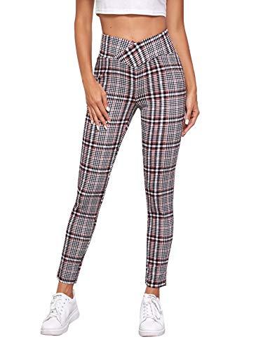 SOLY HUX Damen Plaid Hosen Hosen Skinny Pants Leggings Lässig Casual Büro Kariert Hose mit Elastische Bund Streetwear Bordeaux-Weiß S