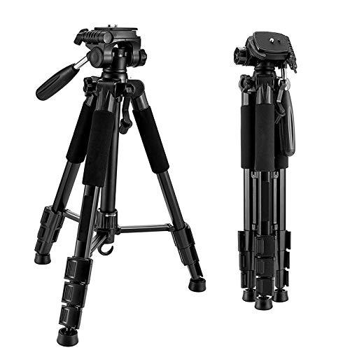 Trípode de aluminio de 140 cm para cámara, trípode de aluminio con soporte universal para teléfono y bolsa de transporte, hasta 8,8 libras / 4 kilogramos para cámara DSLR, carga de videocámara DV