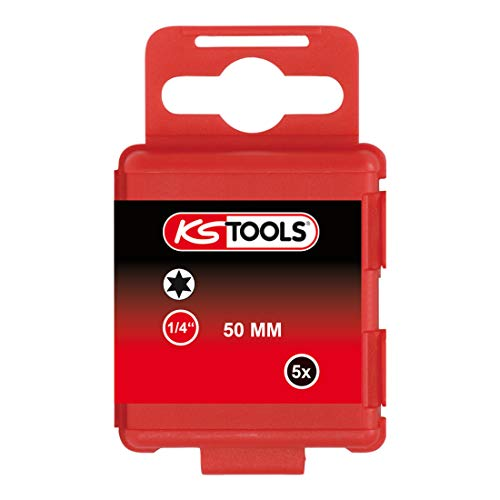 KS Tools 911.2726 1/4 inch Torx-schroevendraaier-bitset, 5 stuks, T10, 50 mm