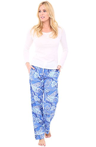 Alexander Del Rossa Womens 100% Cotton Pajamas, Long Knit Top Woven Bottom Pj Set, 2X Paisley Blue with Mauve Mist Top (A0572V612X)