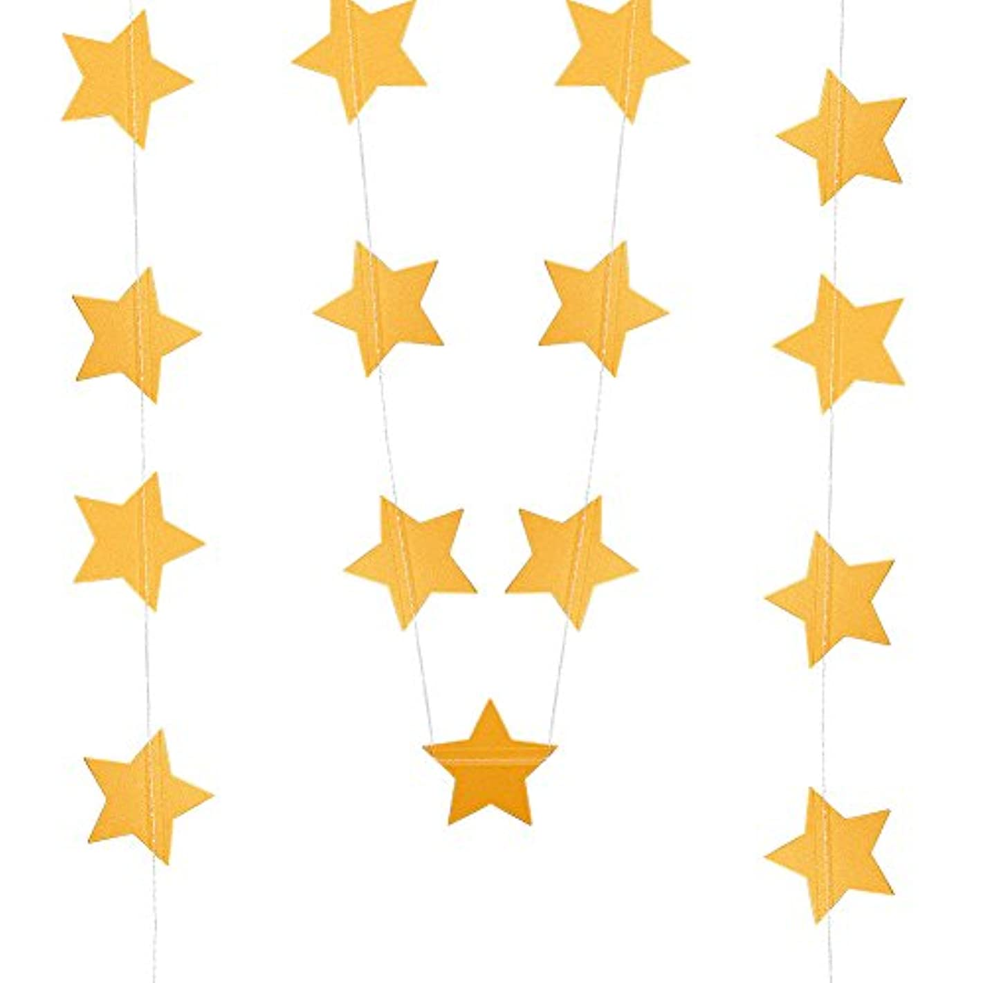 BENECREAT 52 Feet Paper Star Garland String Bunting Banner Hanging Decoration for Wedding Holiday Party Birthday, 2.6 Inches (Gold)