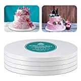 Cake Drums Round White Cake Boards with 1/2-Inch Thick Smooth Edges for Multi Tiered Birthday Wedding Party Cakes Drum Board (White, 10 Inch (4 PCS))