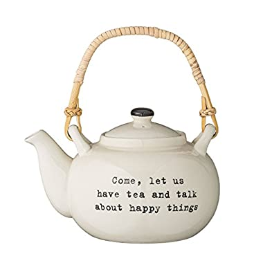 Bloomingville A21100268 Come, let us have tea and talk about happy things  Tea Pot with Bamboo Handle