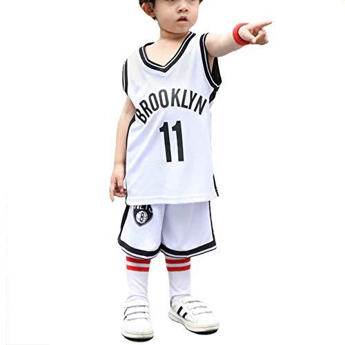 LCHENX-Kinder NBA Brooklyn Netze Nr. 11 Fan Basketball Trikots Set für Mädchen Junge,Weiß,6 Years