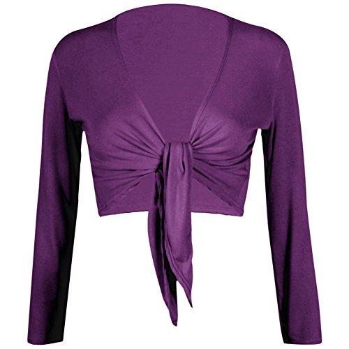F&F nieuwe Womens dames lange mouwen Tie voorzijde Bolero bijgesneden Shrug Top vest (medium, paars)