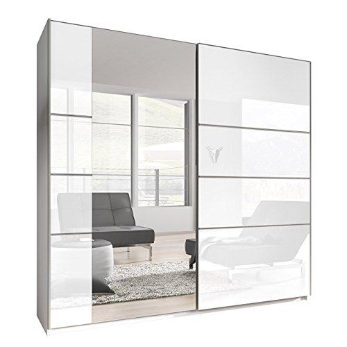 Mirjan24 Kleiderschrank Bora VI, Elegantes Schlafzimmerschrank, Schwebetürenschrank für Schlafzimmer, Jugendzimmer, Schiebetür (180 cm, Weiß/Weiß Hochglanz + Spiegel)