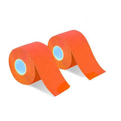 2巻入 テーピングテープ キネシオ テープ 筋肉・関節をサポート 伸縮性強い 汗に強い パフォーマンスを高める 5cm x 5m (オレンジ)